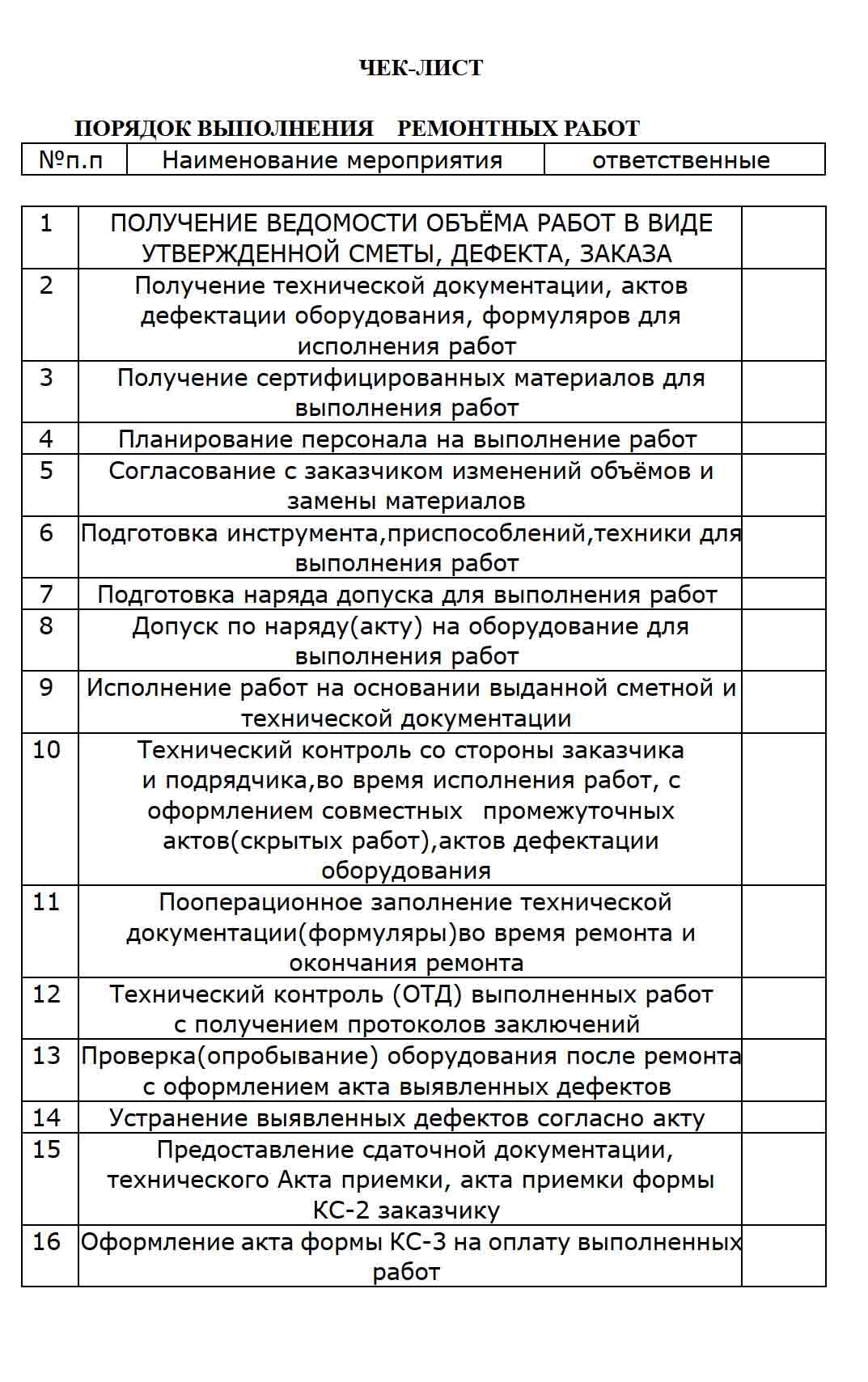 чек-лист на ремонт оборудования